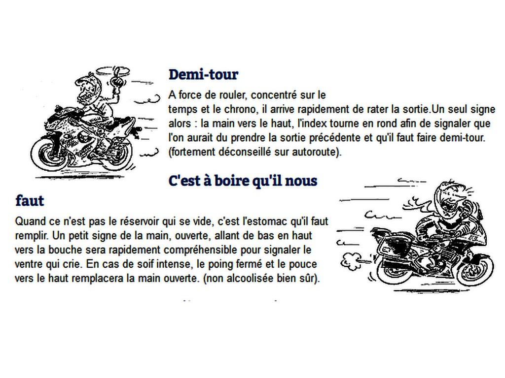 Les signes en moto