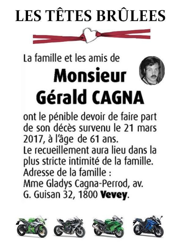 Décès de Gérald Cagna